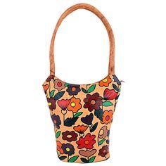 ZINT Genuine Leather Hand Painted Brown Shoulder Bag Multi-Color Flowers  #ZINT #ShoulderBag