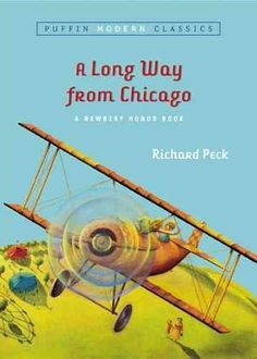 A Long Way from Chicago by Richard Peck.  grade 4-8.  dekalb library has copies.  http://www.npr.org/2013/08/05/207315023/the-ultimate-backseat-bookshelf-100-must-reads-for-kids-9-14