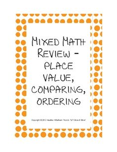 compare, order, and practice place value of numbers through the thousands place - FREE worksheet