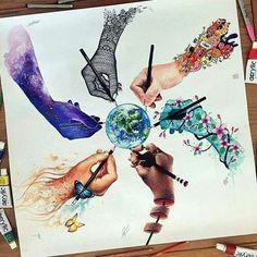 By elia_pelle dinotomic jojoesart scandy_girl vexx_art pavneetsembhi Amazing Drawings, Beautiful Drawings, Cool Drawings, Unique Drawings, Amazing Artwork, Beautiful Artwork, Cool Artwork, Arte Inspo, Vexx Art