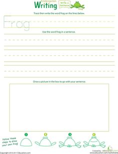 """Inspire your kindergartener's imagination by helping her write a very """"froggy"""" sentence!"""