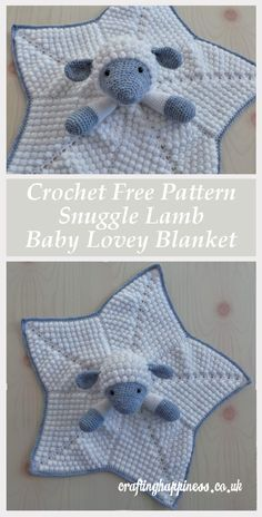 Crochet Free Pattern: Snuggle Lamb Baby Lovey Blanket Tutorial - Crafting Happiness Help your child feel safe and sleep better. Make Liam the lamb baby lovey blanket for your loved one. Affordable crochet PDF pattern by Crafting Happiness. Crochet Security Blanket, Baby Security Blanket, Lovey Blanket, Bunny Blanket, Baby Snuggle Blanket, Baby Blankets, Crochet Simple, Crochet Blanket Patterns, Baby Blanket Crochet