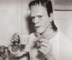 Boris Karloff on the set of Son of Frankenstein.