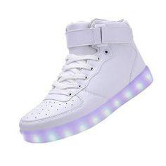 alto top bianco EU 35, USB Glow Coppie sportive JUNGLEST® Scarpe moda Charge Sneakers Uomini Luce colori LED Donne 7