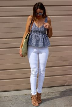 Shop Double Plunge Neck Gingham Peplum Shell Top at ROMWE, discover more fashion styles online. Stylish Summer Outfits, Simple Outfits, Spring Outfits, Casual Outfits, Cute Outfits, Peplum Top Outfits, Blouse Outfit, Look Fashion, Fashion Outfits
