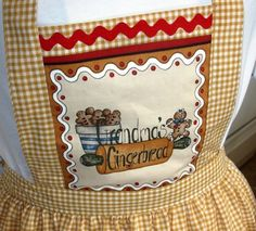 Gingham Gingerbread Apron - by Sue Smith  @ sew-whats-new.com