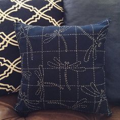 #sashiko pillow is done. And my first invisible zipper was a success!