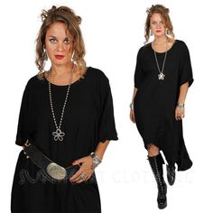 SUNHEART black HI-LOW MERMAID HERA ASYM TUNIC OR DRESS SML-MED-XL-1X-2X-3X #SUNHEARTBOHOGODDESSCLOTHING #lagenlooktunic #ANYTIME