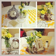 Chevron clock centerpieces, Antioch Women's Retreat