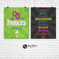 Gilmore Girls Combo - Buttface Miscreant & Oy with the Poodles already - Handlettered printable quote art wall decor - Instant download