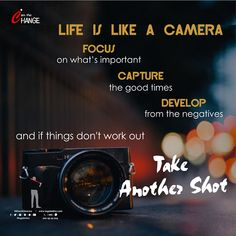 LIFE IS LIKE A CAMERA🙃🙃  FOCUS - on what's important CAPTURE - the good times  DEVELOP -  from the negatives  and if things don't work out TAKE ANOTHER SHOT ✌✌🙃🙃  #riteshksharma #legalmitra #suddharjao #रितेश #sudharjaofever #happytoday Happy Today, Good Times, Life Quotes, Workout, Quotes About Life, Quote Life, Living Quotes, Work Out, Quotes On Life