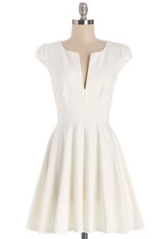 All I Do is Winsome Dress - White, Solid, Casual, Fit & Flare, Cap Sleeves, Summer, Knit, Good, V Neck, Mid-length, Graduation