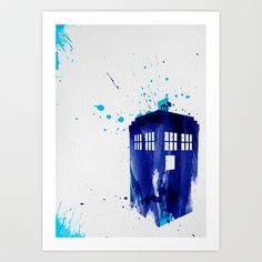 Doctor Who themed poster of the TARDIS poster print of watercolour styled illustration Doctor Who Tardis, Doctor Who Gifts, Doctor Who Art, Eleventh Doctor, Tardis Painting, Tardis Art, Tardis Blue, Fanart, Nerd Love