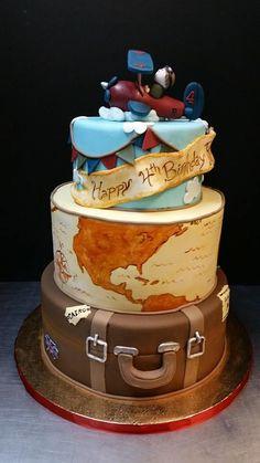 Birthday cake travel theme traveltourswall travel wedding cake world map suitcase cool cakes without gumiabroncs Gallery