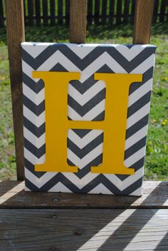"""Grey Chevron With Yellow Initial Canvas Wall Art 11""""x14"""" Boys And Girls Room Decor."""