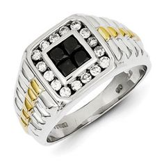 Men's Sterling Silver 1 Carat Black and Clear Diamond Gold Accent Ring.