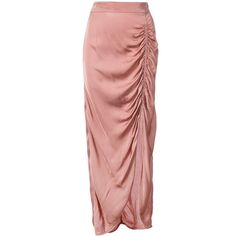 Raquel Allegra liquid satin gathered maxi skirt (£275) ❤ liked on Polyvore featuring skirts, red maxi skirt, red satin maxi skirt, red satin skirt, mid length skirts and red high waisted skirt