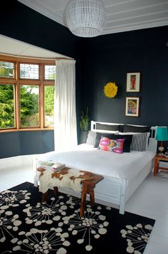 black walls can work with lots of natural light and pops of color! This room does;t have enough color for me though.