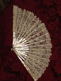Antique Lace and Mother of Pearl Hand Fan by sdbees1030 on Etsy