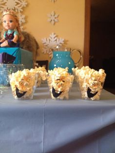 Olaf popcorn cups for Disney Frozen Party Frozen 3rd Birthday, Olaf Party, Frozen Themed Birthday Party, Elsa Birthday, Disney Frozen Birthday, 6th Birthday Parties, Birthday Party Decorations, 4th Birthday, Birthday Ideas