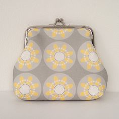 Daisy fabric coin purse in Yellow and Grey by LouiseBrainwood
