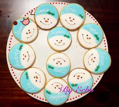 Christmas cookies with kids' names on it. Place card cookies