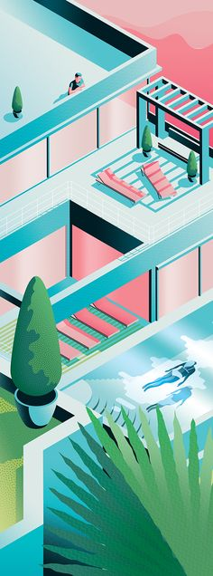 Summer View|Jack Daly||A recently completed illustration inspired by summertime and holidays|||#illustration #axonometric #colour #blue #pink