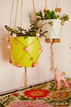 diy hanging planter with beads!