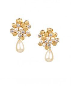 Golden Swarovski and Pearl Stud Earrings