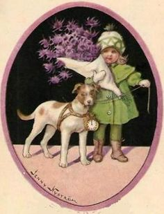 New Year Flower Girl With Dog Jenny Nystrom Vintage Labels, Vintage Cards, Vintage Images, Dogs And Kids, Animals For Kids, Old Fashion Image, Norway Christmas, Vintage Illustration Art, Christmas Paintings