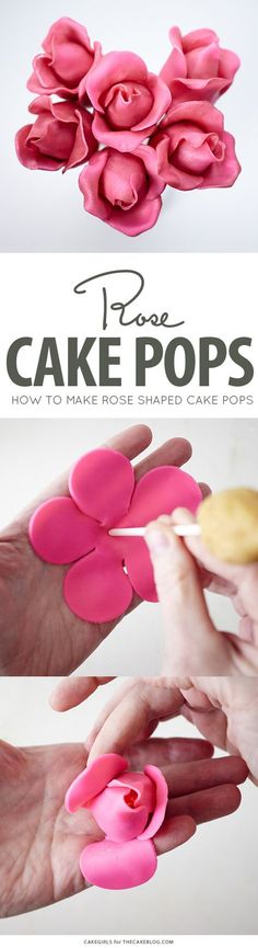 DIY Rose Cake Pops, an adorable dessert for Valentines Day, Mothers Day and bridal showers by Cakegirls for Cake Decorating Tips, Cookie Decorating, Chocolate Desserts, Chocolate Cake, Decoration Patisserie, Cheesecake Decoration, Impressive Desserts, Cake Pops How To Make, Cake Pops