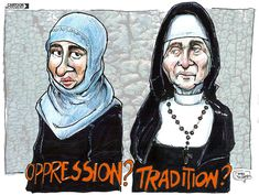 It's important to remember that ideas of religious oppression come from ALL forms of religion.not just Islam. Gender Examples, Nuns Habits, Losing My Religion, Free Thinker, Atheism, Muslim Women, Political Cartoons, Social Issues, Oppression