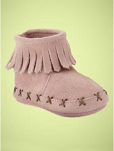 Pink Moccasins for little girl!  Fringed moccasin bootie   Gap