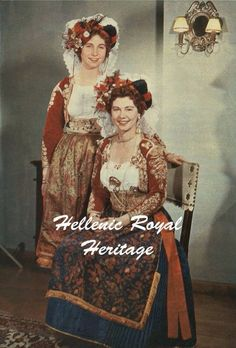 Queen Frederica of Greece and daughter Sophia ( later Queen of Spain). Queen Sophia, Queen Mary, Queen Anne, Greek Traditional Dress, Traditional Outfits, Greece History, Greek Royalty, Greek Royal Family, Royal Photography