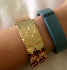 Fitbit Flex Cover Up Bracelet Gold Scale Cuff by FitFabFlair