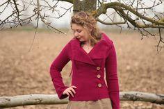 Kurzjacken - Jacke aus Wolle Walkjacke pink meliert Gr. 38 - ein Designerstück von basia-kollek bei DaWanda