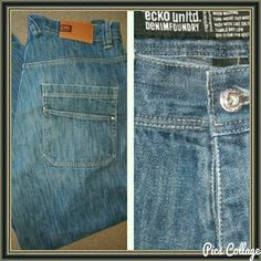 Ecko unltd baggy 5-pocket Flat metal studs on all pockets  Excellent like new ecko unltd Jeans