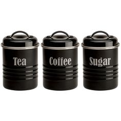Typhoon Vintage Black Tea Coffee and Sugar Canister Set found on Polyvore featuring home, kitchen & dining, food storage containers, kitchen, black, filler, black canister set, steel canister, black canisters and tea cannister
