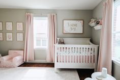 Baby Girl Nursery Tour Related Insanely Smart, Easy and Cool Drawing Ideas to Pursue NowOne of my favorite parts of getting ready for a new baby is designing the nurser.If you are looking for tips on sharing room with baby or how to make a nursery m. Baby Girl Nursery Decor, Baby Bedroom, Baby Room Decor, Girls Bedroom, Floral Nursery, Blush Nursery, Baby Girl Bedroom Ideas, Baby Girl Rooms, Simple Baby Nursery