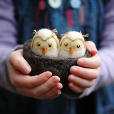 Felted Baby Owls in a Nest