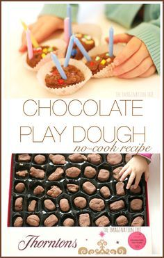 Make this super simple no-cook chocolate play dough recipe with your preschoolers and school aged children for a fun sensory or Valentine's day activity!