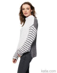Sweater pattern by Fil Katia White Sweaters, Sweaters For Women, Knitwear Fashion, Handmade Clothes, Urban, Pulls, Lana, Fall Winter, Autumn