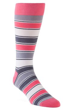 Statement Sockwear: Striped pink and gray socks. Every pair of Statement Sockwear socks purchased provides 100 days of clean water for someone in Africa.    Make a statement. Make a difference.