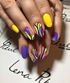 Beautiful nail art designs that are just too cute to resist. It's time to try out something new with your nail art. Funky Nail Art, Funky Nails, Trendy Nails, Stylish Nails, Colorful Nails, Nagel Stamping, Nail Swag, Super Nails, Hot Nails