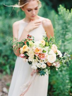 full, wild spring bridal bouquet