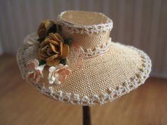 12th Scale Dollhouse Miniature Ladies Satin Hat and by 12thCouture