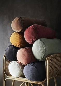Colourful Velvet And Linen Bolster Cushions