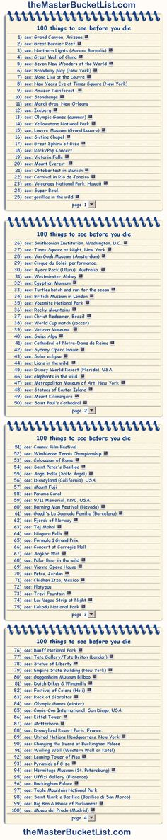 100 things to see before you die. I have 12 out of 100. Hopefully studying abroad changes that!