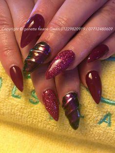 Chameleon unicorn acrylic nails, with burgundy shellac gel polish & holographic glitter