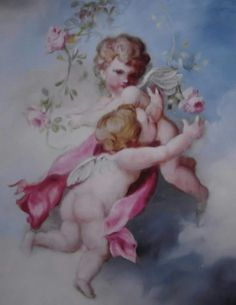 BARNES OIL PAINTING ANTIQUE VINTAGE STYLE ROSES CHERUBS EBAY